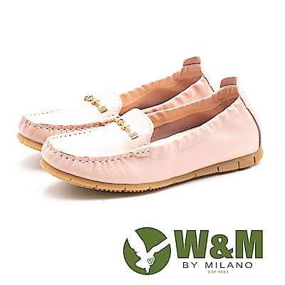 W&M(女)編織金屬扣 休閒鞋-粉(另有藍/米)