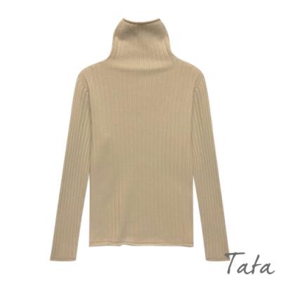 坑條高領素色針織上衣 共三色 TATA-F