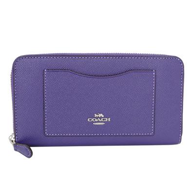 COACH紫色防刮全皮前口袋拉鍊長夾