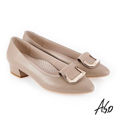 A.S.O 義式簡約 嚴選皮革高跟鞋 米