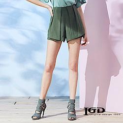 IGD英格麗 立體活褶剪裁設計短褲-綠色