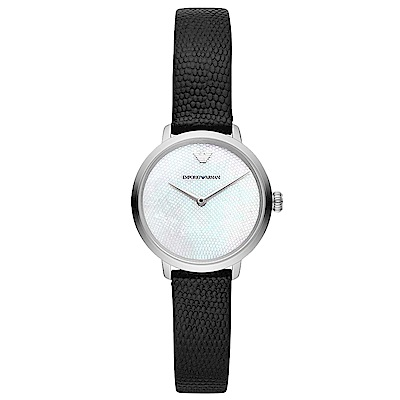 Emporio Armani 璀璨珍珠貝時尚手錶(AR11159)-黑帶/28mm