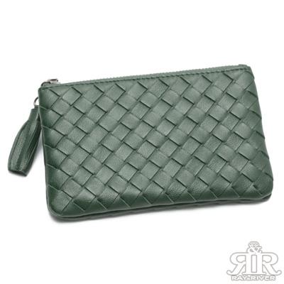2R 細呢羊皮soft編織手感零錢包 海草綠