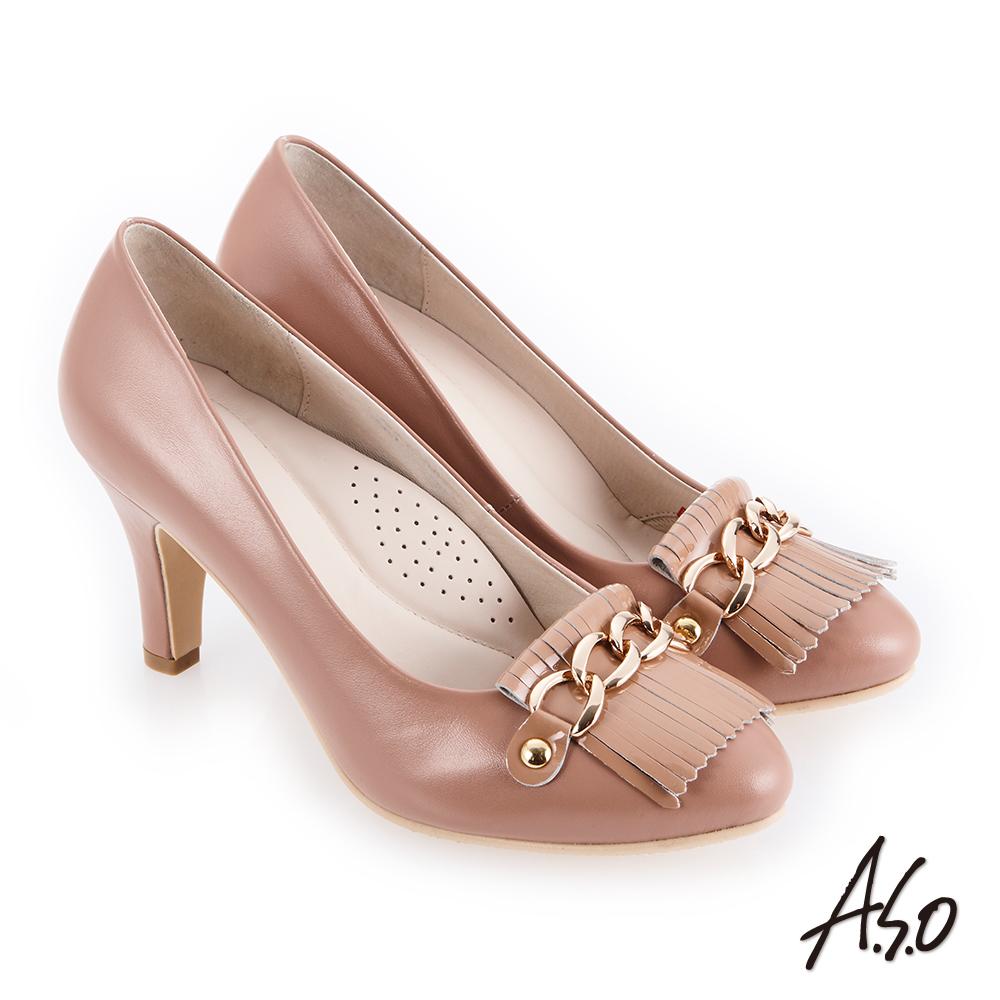 A.S.O 個性都會 鏡面牛皮流蘇拼接高跟鞋 卡其