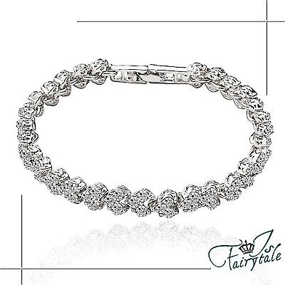 iSFairytale伊飾童話 編織滿鑽 華麗鑲鋯石手鍊 銀
