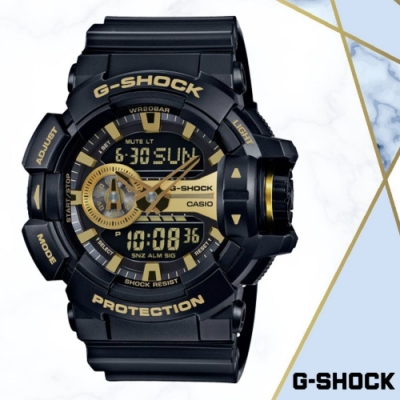CASIO卡西歐 經典黑金雙顯錶(GA-400GB-1A9)/51.9mm