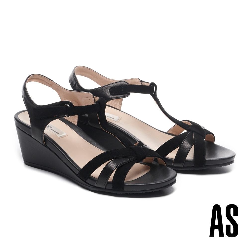 涼鞋 AS 簡約典雅交叉繫帶羊皮楔型高跟涼鞋-黑