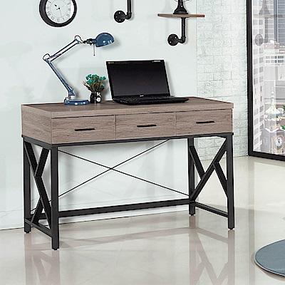 H&D 古橡木色4尺三抽書桌
