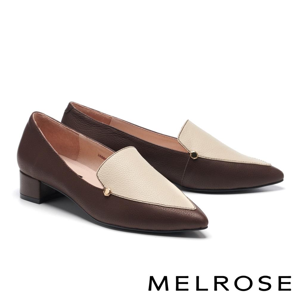 低跟鞋 MELROSE 俐落質感純色縮花牛皮尖頭低跟鞋-咖
