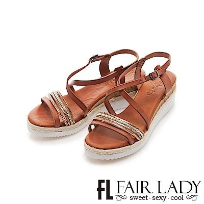 Fair Lady PORRONET 交叉繞帶厚底楔型涼鞋 棕