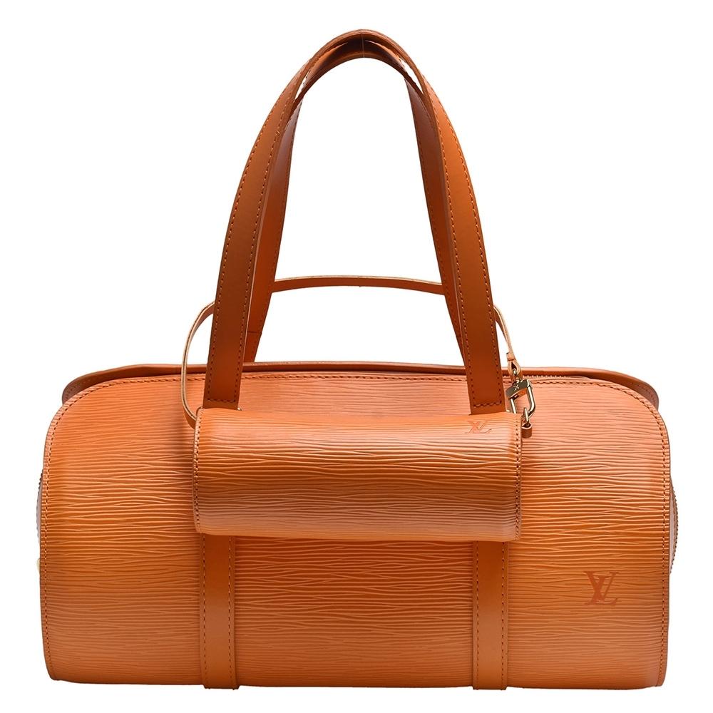 LV M5222H經典EPI水波紋牛皮拉鍊手提圓筒包(橘色)