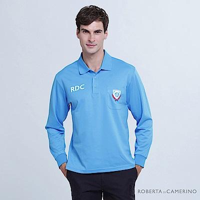 ROBERTA諾貝達 台灣製 運動風尚 吸濕速乾 長袖POLO棉衫  藍