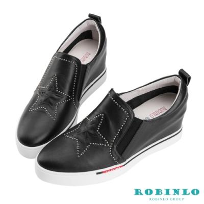 Robinlo 經典星星鉚釘牛皮內增高休閒鞋 黑色