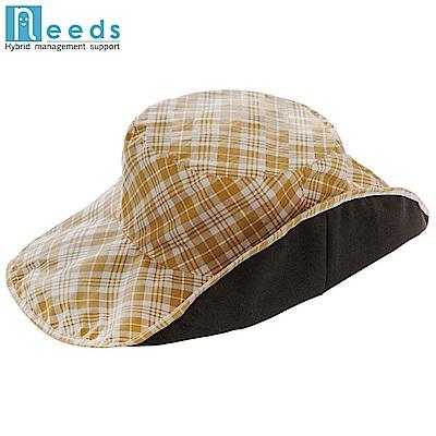 日本NEEDS寬帽簷11cm折疊正反兩面帽抗UV帽防水帽折りたためるUVレイン帽子673037防雨帽 亦可作防曬帽遮陽帽
