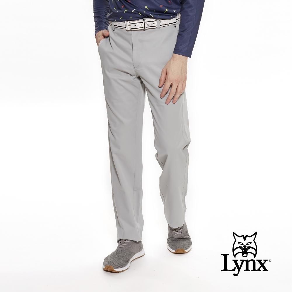 【Lynx Golf】男款日本進口高透濕防潑水布料素面平口休閒長褲-灰色