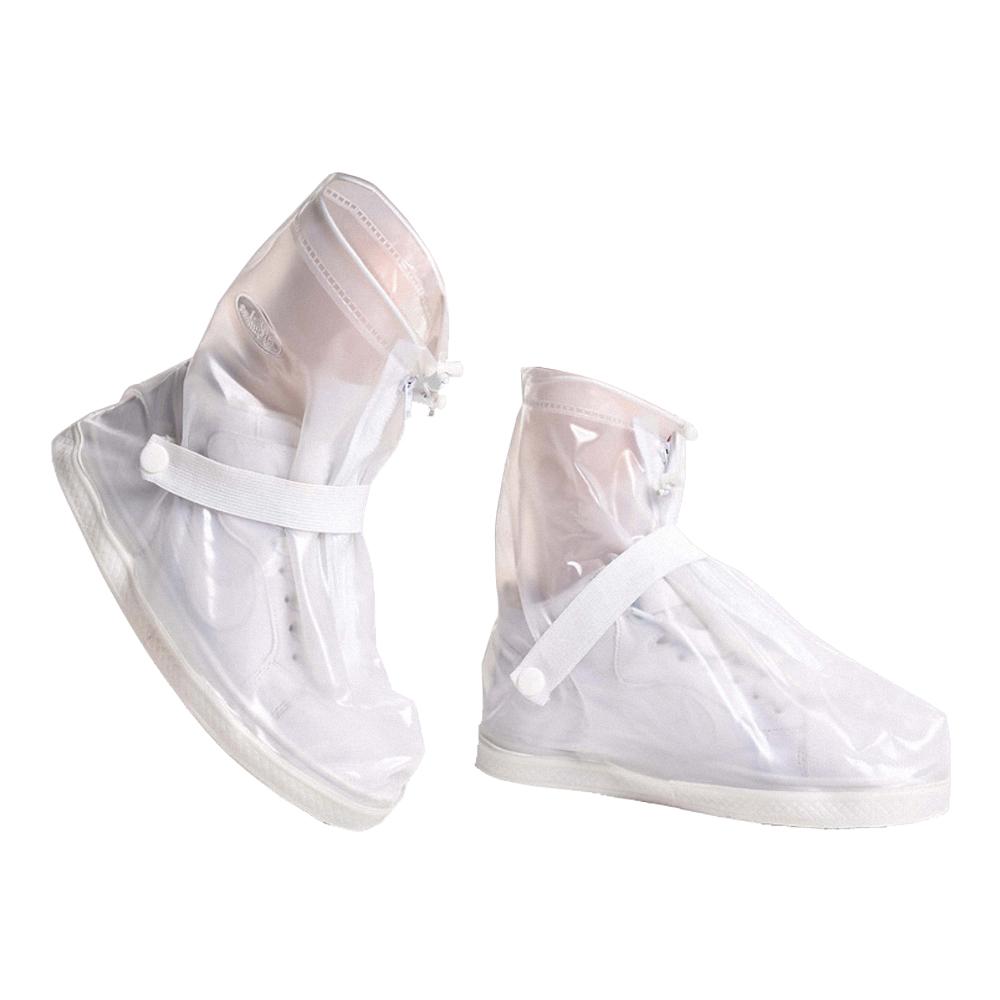防水 雨鞋套 短筒 雨靴  耐磨 短筒 不掉腳跟 防滑 拉鍊防水層-透明