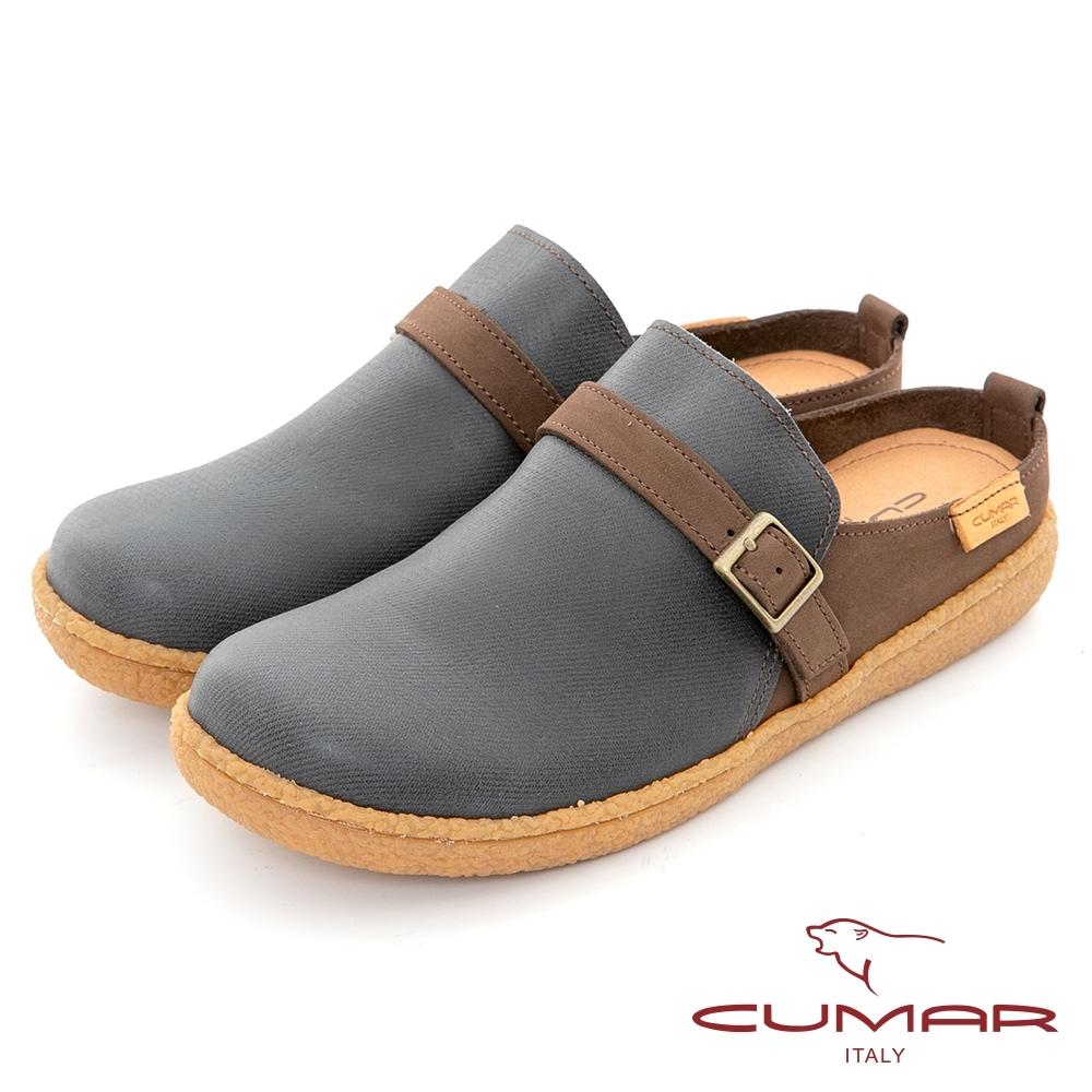 【CUMAR】舒適大圓頭懶人便鞋-藍色