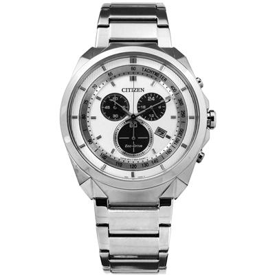 CITIZEN 星辰表 光動能三眼計時日期礦石強化玻璃不鏽鋼手錶-銀白色/43mm