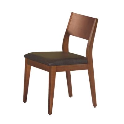 Boden-喬妮柚木色皮面實木餐椅/單椅(兩色可選)