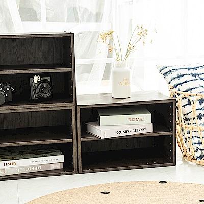 樂嫚妮 二層收納櫃/空櫃/書櫃-層板可抽-深胡桃木色3入組-42X28.2X28.8cm