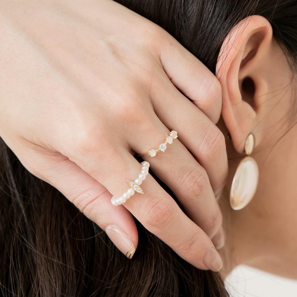 簡約奢華典雅亮鑽鋯石珍珠玫瑰金二入戒指組-OB大尺碼