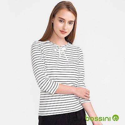 bossini女裝-七分袖條紋上衣02白