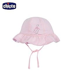 chicco-蜜粉格-荷葉綁帶帽
