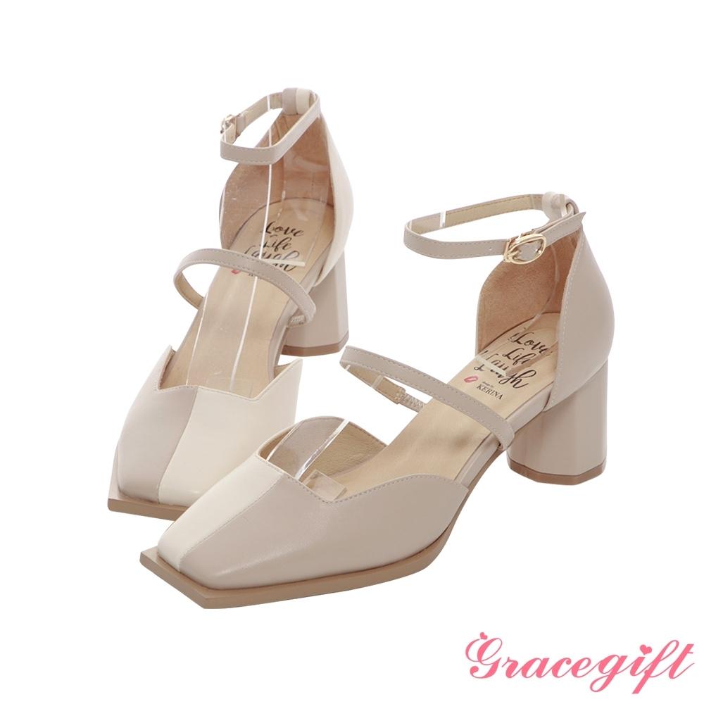 Grace gift X Kerina-聯名方頭雙帶設計中跟鞋 米它料