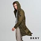 DKNY 男款 簡約休閒長版連帽外套 綠