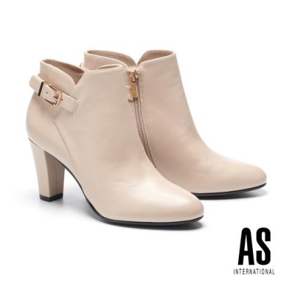 短靴 AS 簡約時尚金屬釦全真皮尖頭高跟短靴-米