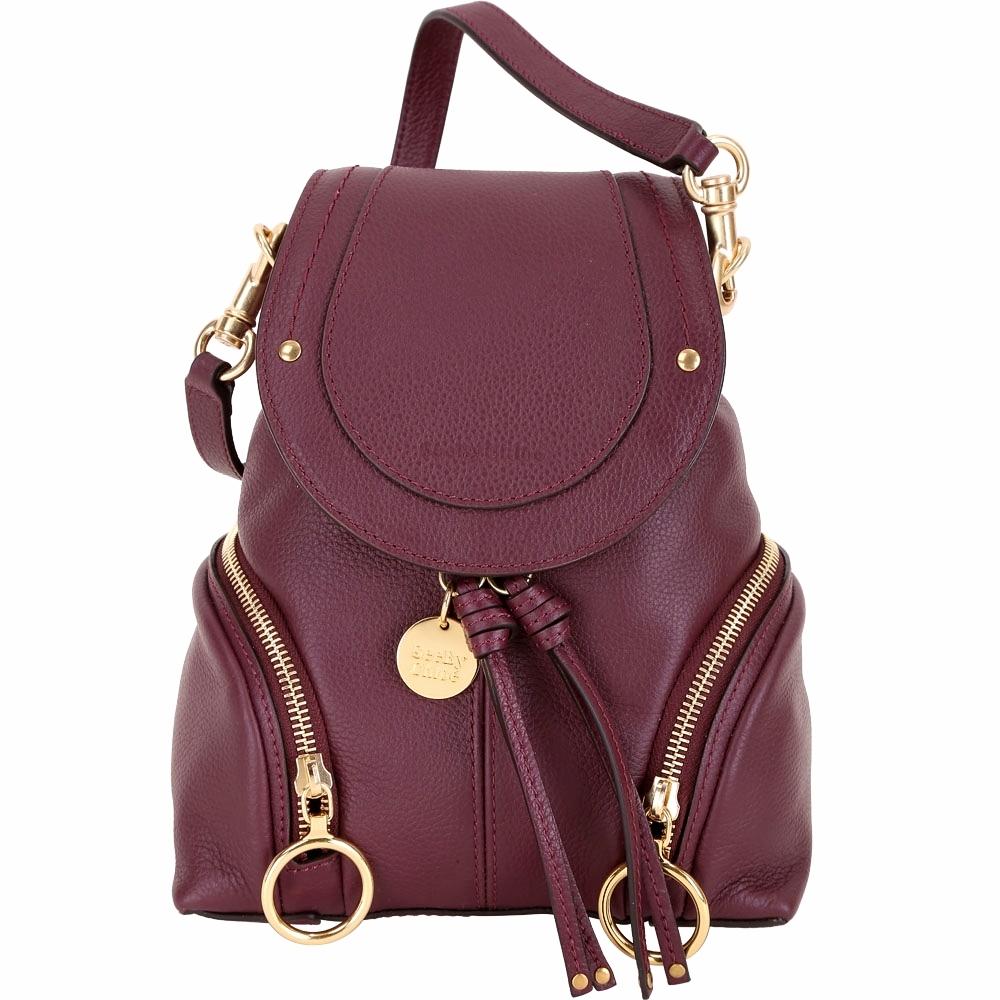 SEE BY CHLOE Olga 小型 雙拉鍊設計牛皮後背包(紫紅色)