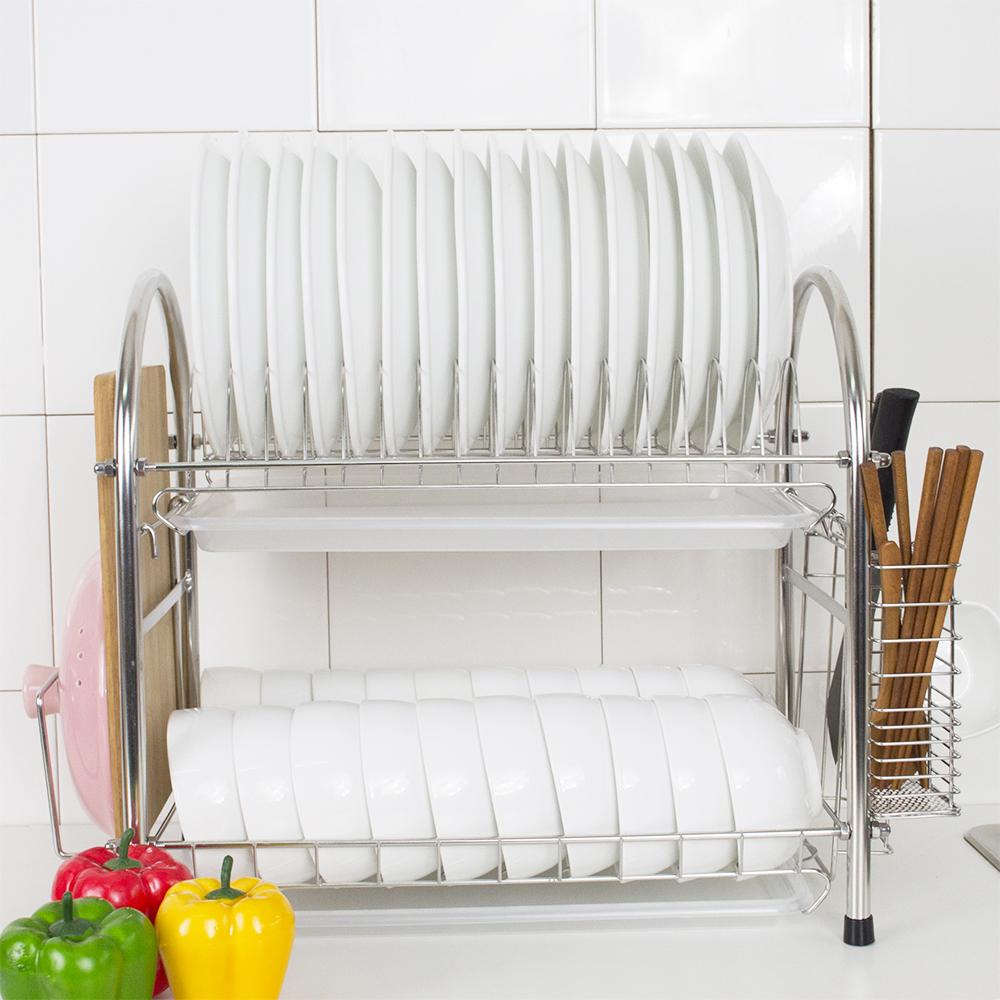 達人收納 304不鏽鋼加粗大容量雙層碗盤瀝水架