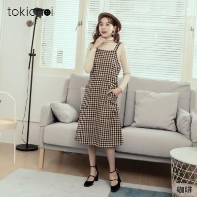 東京著衣 知性秋冬附腰帶毛呢格紋洋裝
