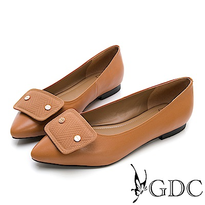 GDC-真皮時尚質感素色上班尖頭平底鞋-棕色