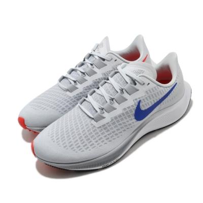 Nike 慢跑鞋 Zoom Pegasus 37 運動 男鞋 氣墊 避震 路跑 健身 小飛馬 球鞋 灰 紅 BQ9646006