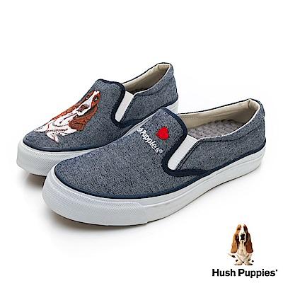 Hush Puppies 巴吉度狗繡花咖啡紗懶人便鞋-灰藍
