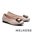 低跟鞋 MELROSE 時尚復古豹紋方釦全真皮低跟鞋-米