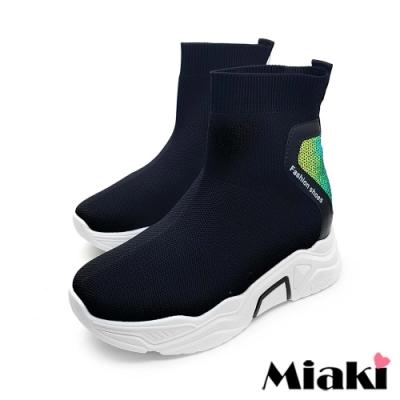 Miaki-襪靴韓鞋首選厚底休閒短靴-黑