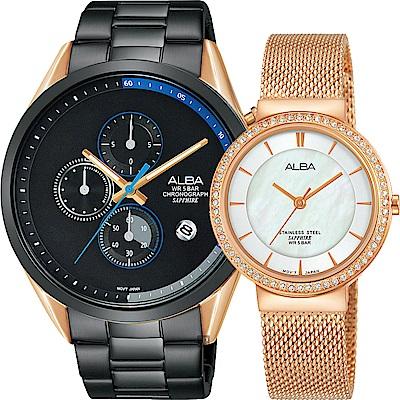 ALBA雅柏 東京情人限定對錶(AM3594X1+AH8496X1)