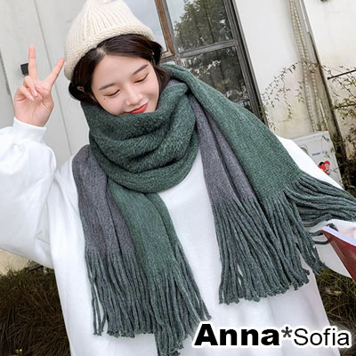 AnnaSofia 雙面色流蘇設計 厚織仿羊絨大披肩圍巾小毯子(深灰+墨綠)