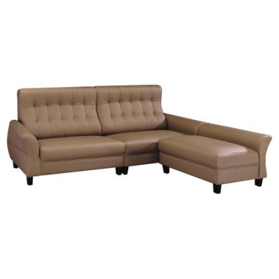 綠活居 費瑟耐磨皮革獨立筒L型沙發組合(四人座+椅凳)-250x168x92cm免組