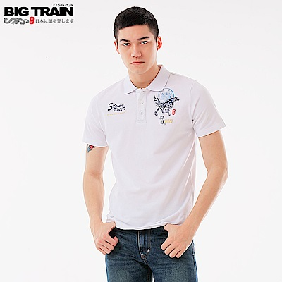 BigTrain 火焰銀狼POLO衫-男-白色