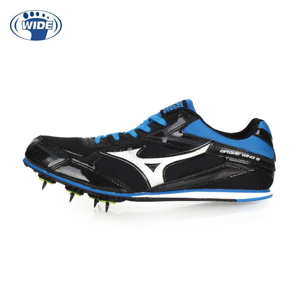 MIZUNO 男女 田徑釘鞋-WIDE BRAVEWING 3 黑藍銀