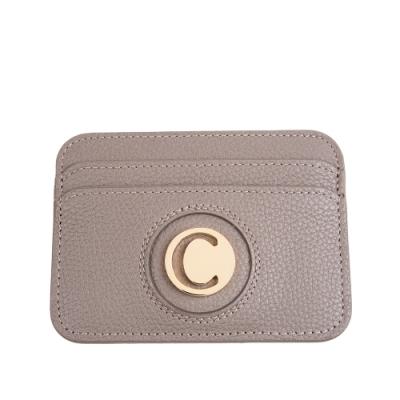 CHLOE 經典C LOGO 全牛皮信用卡名片夾 (大象灰)
