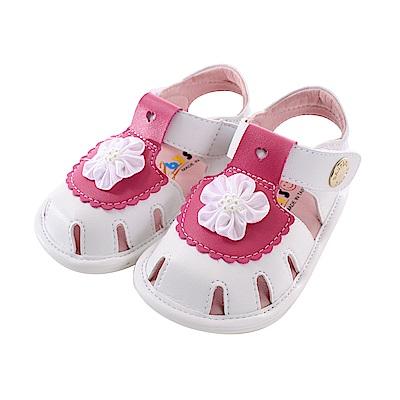 魔法Baby白小花止滑寶寶手工涼鞋 sk0750