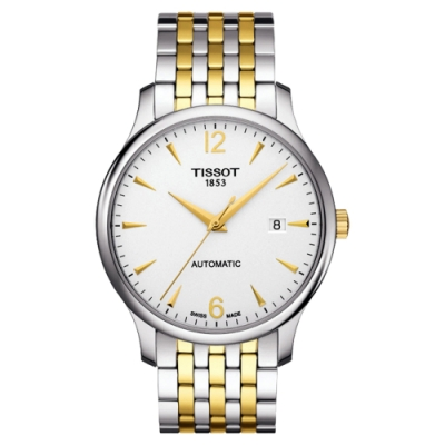TISSOT Tradition 都會時尚大三針機械腕錶-銀x半金/40mm T0634072203700