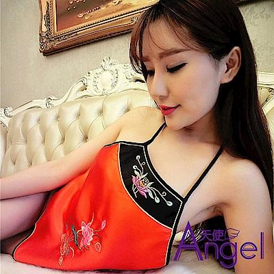 Angel天使 性感情趣肚兜套裝刺繡宮廷綁帶式露背 BP036 紅