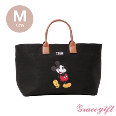 Disney collection by grace gift–唐葳設計迪士尼米奇2WAY帆布包M 黑