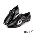 HERLS孟克鞋-全真皮配色橫帶釦環尖頭低跟鞋孟克鞋-鏡面黑