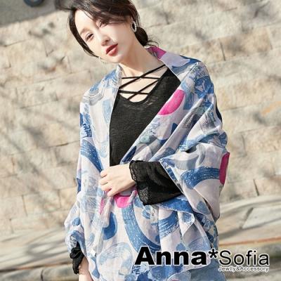 【2件450】AnnaSofia 刷圈騰幻 拷克邊韓國棉圍巾披肩(灰藍系)